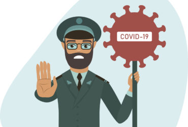 COVID-19 2019-nCoV concept. closingthecountryborders during coronavirus outbreak.officer holding STOP COVID-19 sign. flat vector illustration